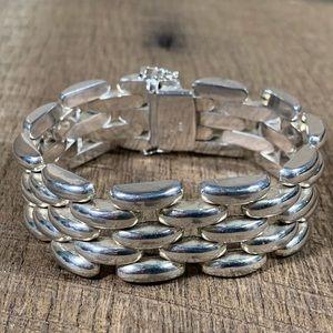 925 Italy Sterling Silver Wide Link Bracelet